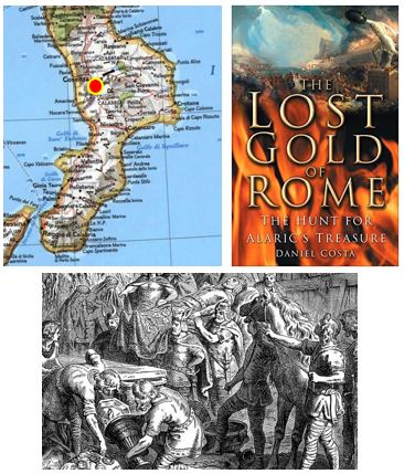 Map showing Cosenza, The Lost Gold of Rome book, Alaric's burial depiction