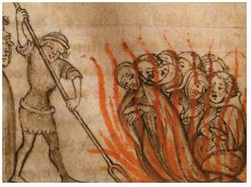 Drawing featuring the burning of the Templars