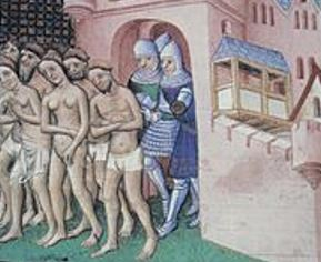 Cathars being led to their death for their beliefs