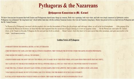 Screenshot from the Pythagoras Nazarean Connection website