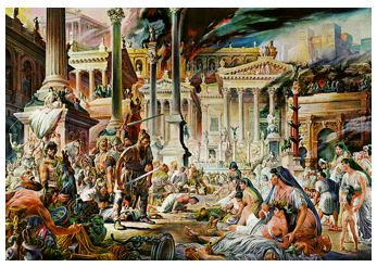 Painting of Visigoths sacking Rome
