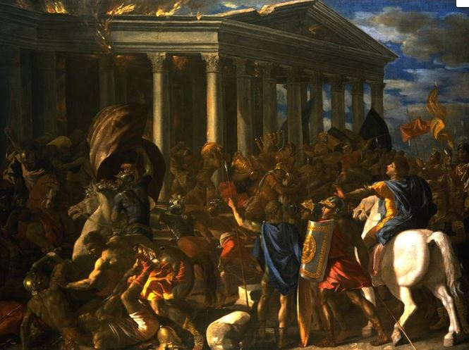 Poussin painting of the destruction of the Temple at Jerusalem by the Romans